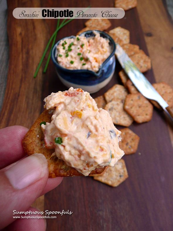 Smokin' Chipotle Pimento Cheese ~ Sumptuous Spoonfuls #easy #spicy #cheese #spread #recipe