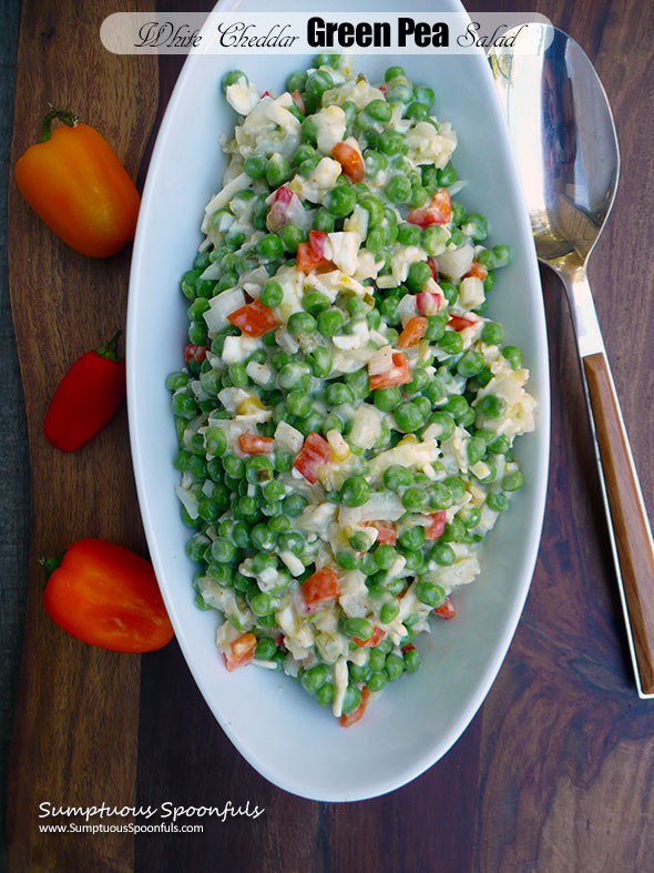 White Cheddar Green Pea Salad ~ Sumptuous Spoonfuls #easy #potluck #salad #recipe