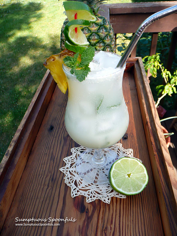Hawaiian Mojito ~ Sumptuous Spoonfuls #tropical #cocktail #recipe #coconut #lime