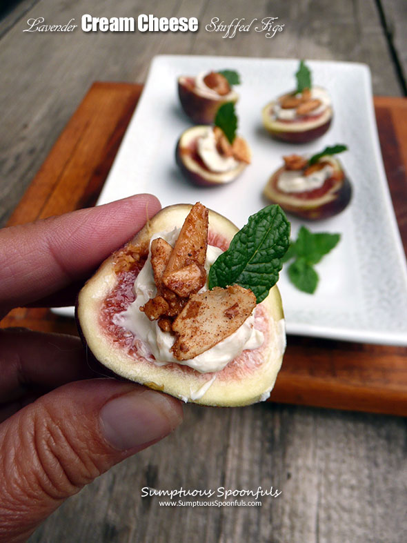 Lavender Cream Cheese Stuffed Figs ~ Sumptuous Spoonfuls #lavender #creamcheese #figs #recipe