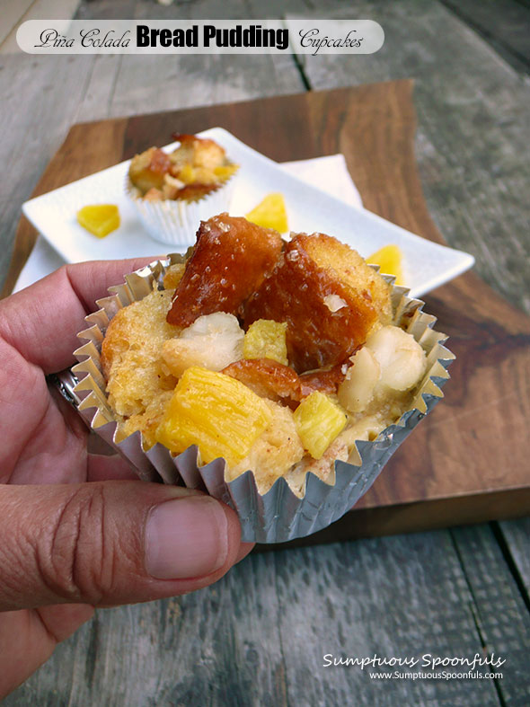 Piña Colada Bread Pudding Cupcakes ~ Sumptuous Spoonfuls #pineapple #coconut #breadpudding #recipe