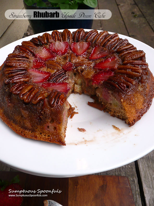 Strawberry Rhubarb Upside Down Cake ~ Sumptuous Spoonfuls #summer #fruity #caramel #cake #recipe