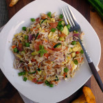 Bacon Mushroom Zucchini Fried Rice ~ Sumptuous Spoonfuls #bacon #zucchini #friedrice #recipe