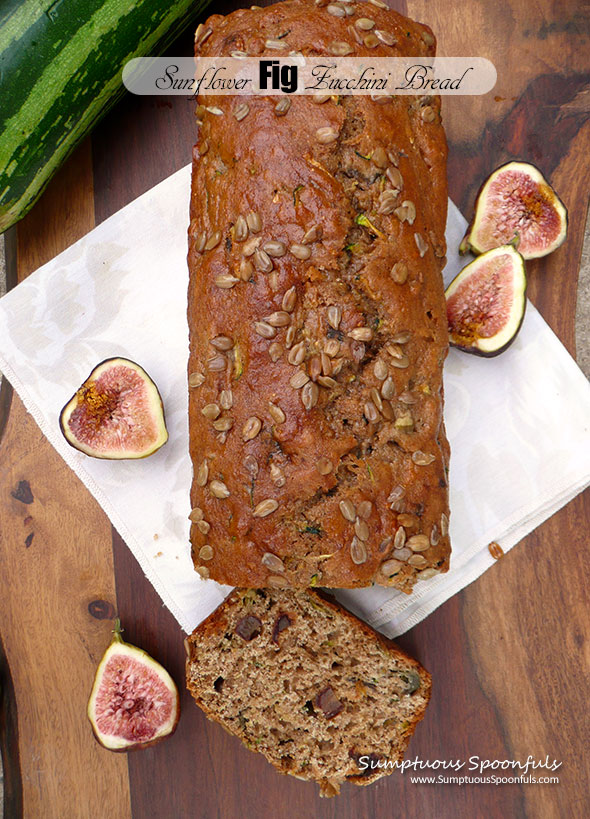 Sunflower Fig Zucchini Bread ~ Sumptuous Spoonfuls #yogurt #wholewheat #zucchini #bread #recipe
