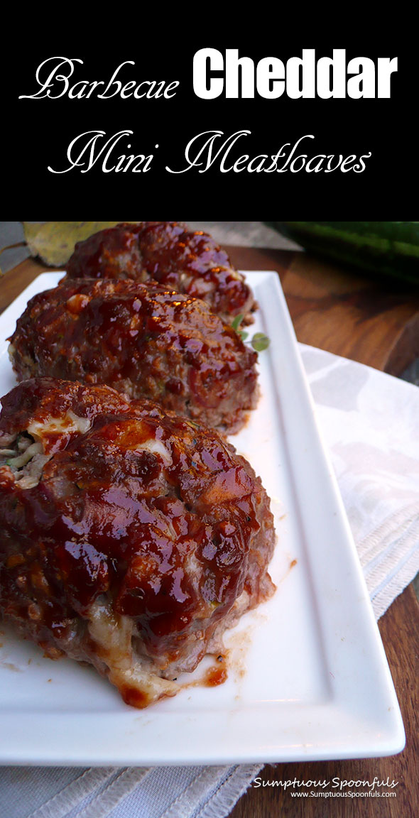 Barbecue Cheddar Mini Meatloaves ~ Sumptuous Spoonfuls #kidfriendly #meatloaf #recipe