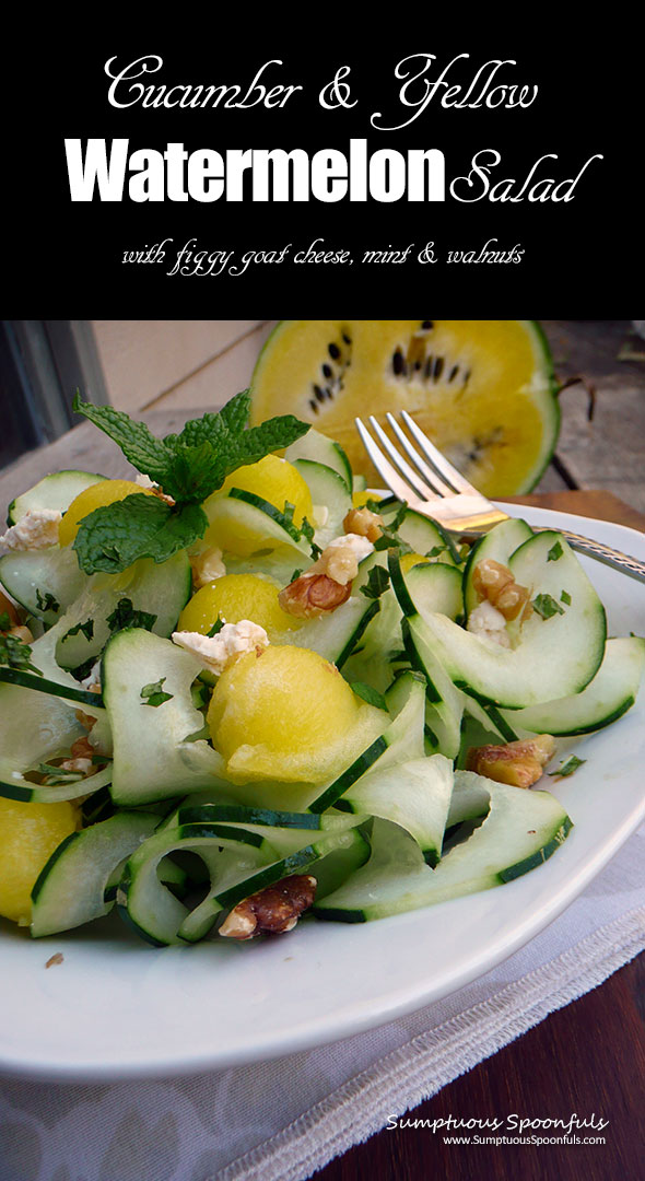 Minted Cucumber Watermelon Salad with Figgy Goat Cheese & Toasted Walnuts ~ Sumptuous Spoonfuls #easy #watermelon #salad #recipe
