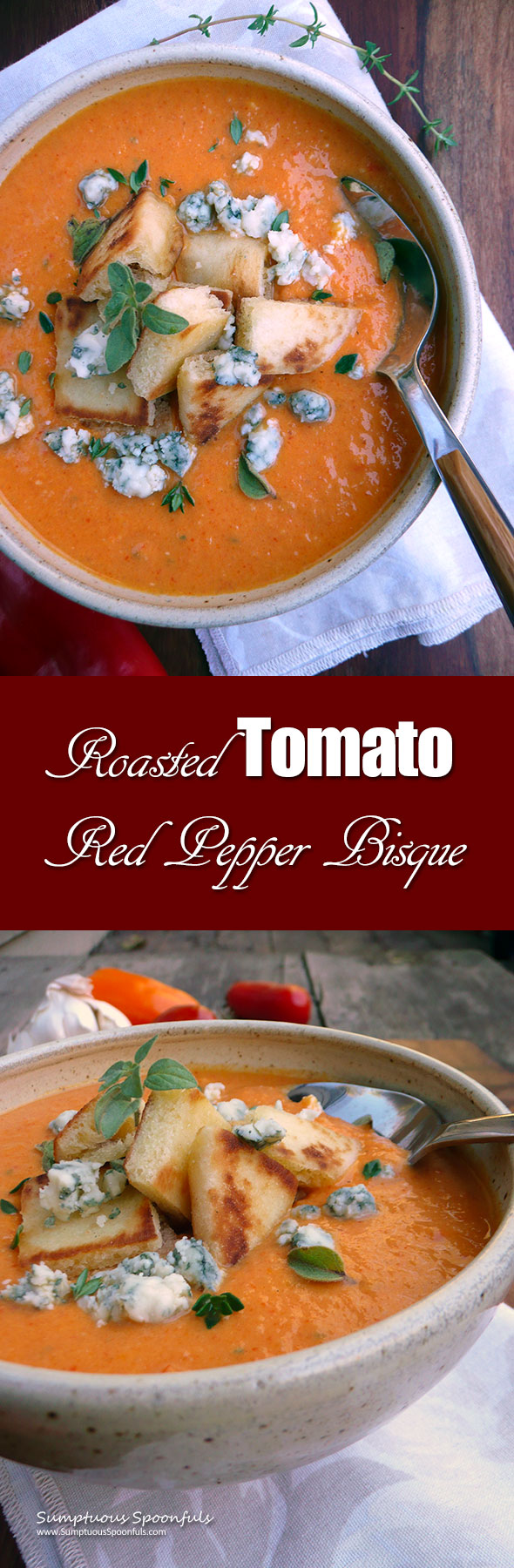 Roasted Tomato Red Pepper Bisque ~ Sumptuous Spoonfuls #tomato #redpepper #soup #recipe