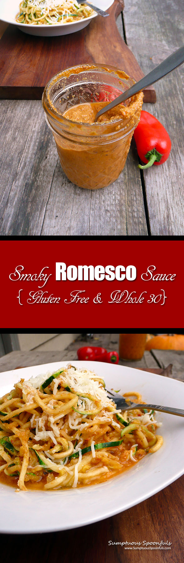 Smoky Romesco Sauce (Gluten free & Whole 30) ~ Sumptuous Spoonfuls #healthy #sauce #recipe