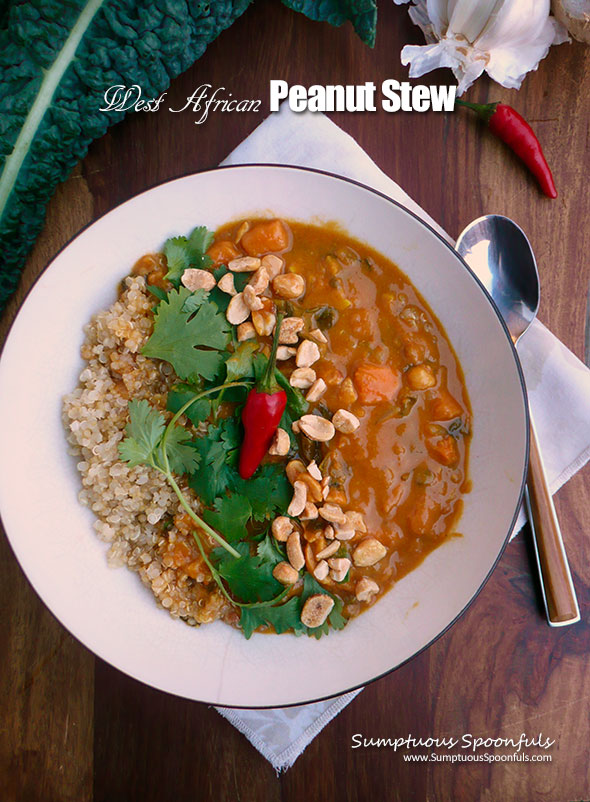 West African Peanut Stew ~ Sumptuous Spoonfuls #spicy #vegetarian #stew #recipe