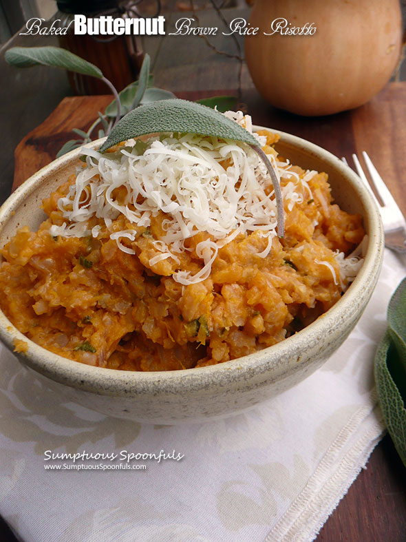 Baked Butternut Brown Rice Risotto ~ Sumptuous Spoonfuls #easy #healthy #risotto #recipe