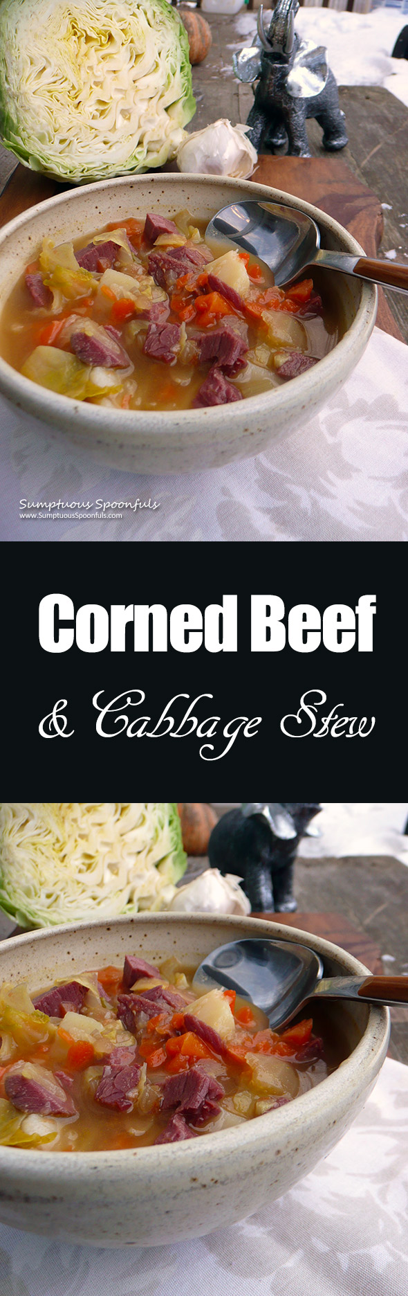 Corned Beef & Cabbage Stew ~ Sumptuous Spoonfuls #cornedbeef #cabbage #potato #stew #recipe