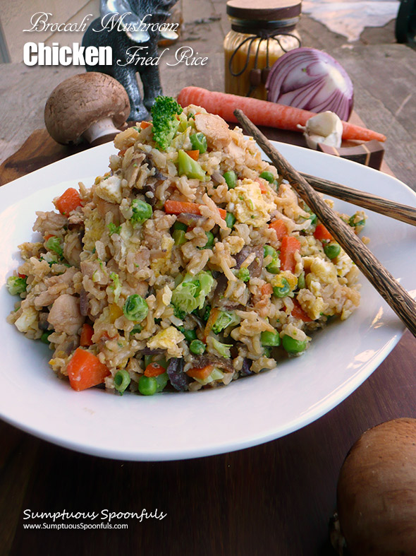 Broccoli Mushroom Chicken Fried Rice