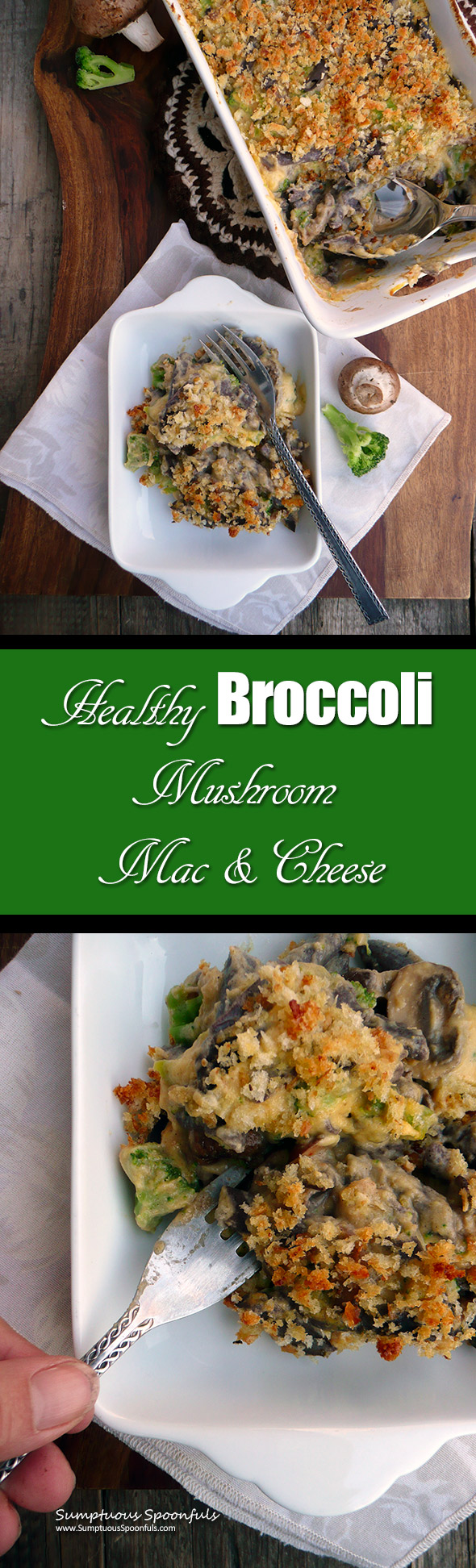 Healthy Broccoli Mushroom Mac & Cheese with black bean penne & cauli-carrot 3-cheese sauce ~ Sumptuous Spoonfuls #healthy #comfortfood #recipe