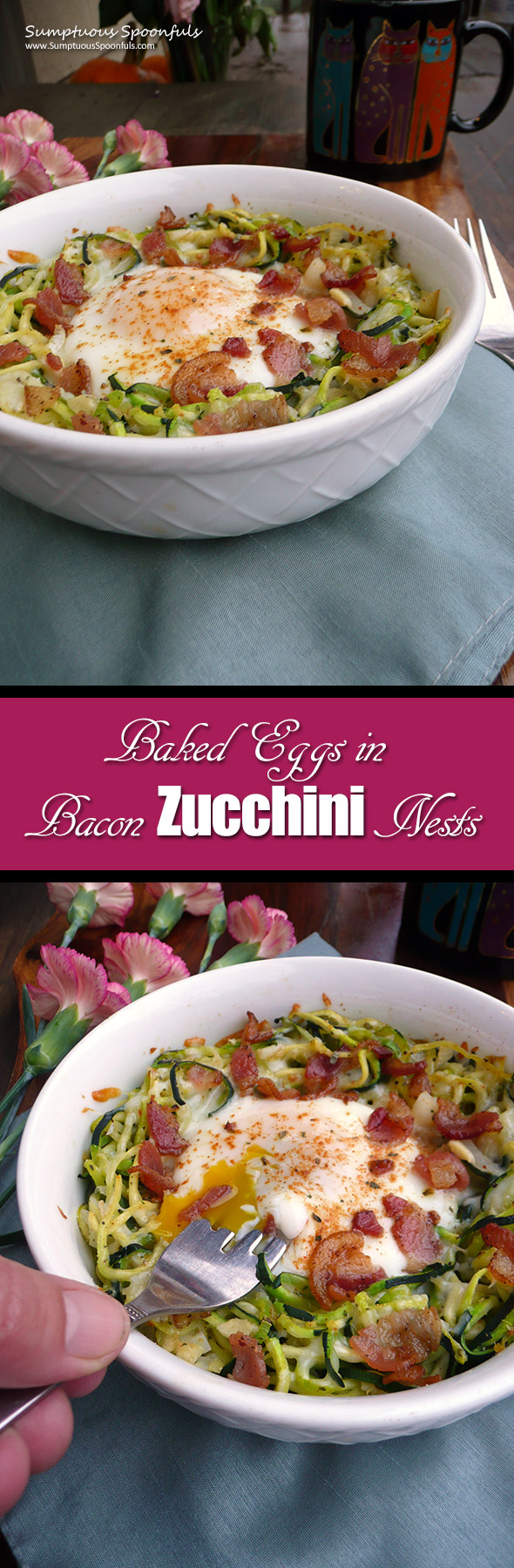 Baked Eggs in Bacon Zucchini Nests ~ Sumptuous Spoonfuls #easy #breakfast #recipe
