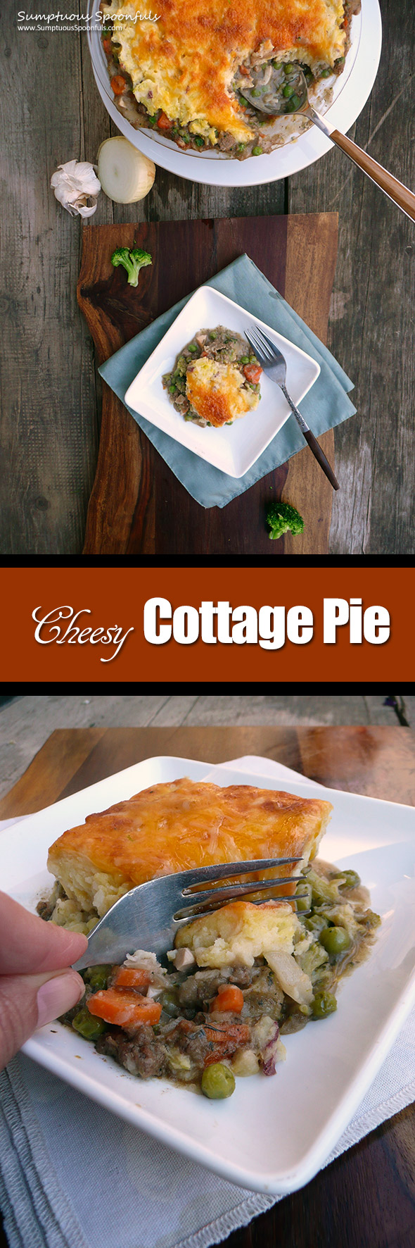 Cheesy Cottage Pie ~ Sumptuous Spoonfuls #beef #potato #pie #recipe