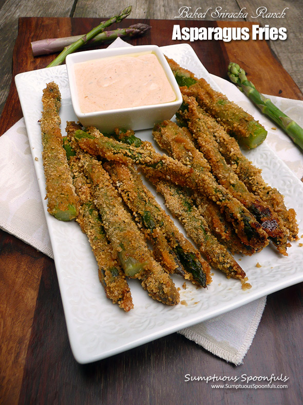 Baked Sriracha Ranch Asparagus Fries ~ Sumptuous Spoonfuls #crispy #asparagus #appetizer #recipe