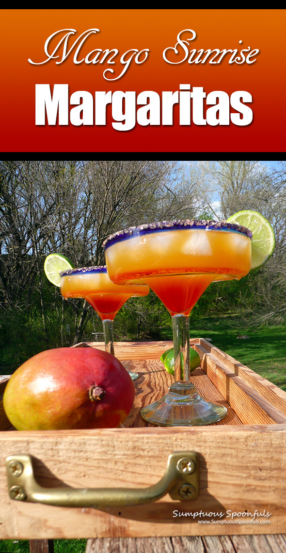 Mango Sunrise Margaritas ~ Sumptuous Spoonfuls #CincoDeMayo #Cocktail #recipe
