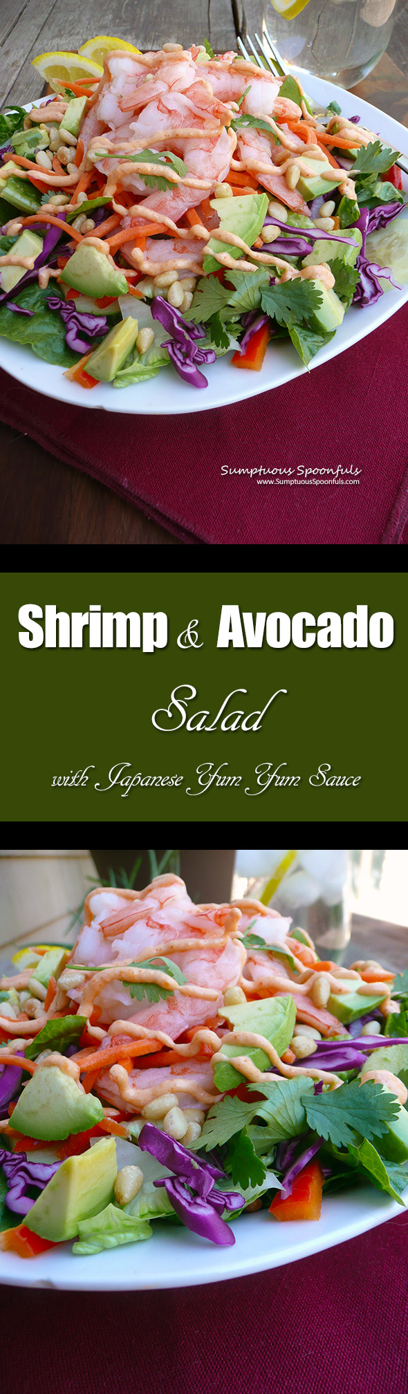 Shrimp & Avocado Salad with Japanese Yum Yum Sauce ~ Sumptuous Spoonfuls #easy #dinner #salad #recipe