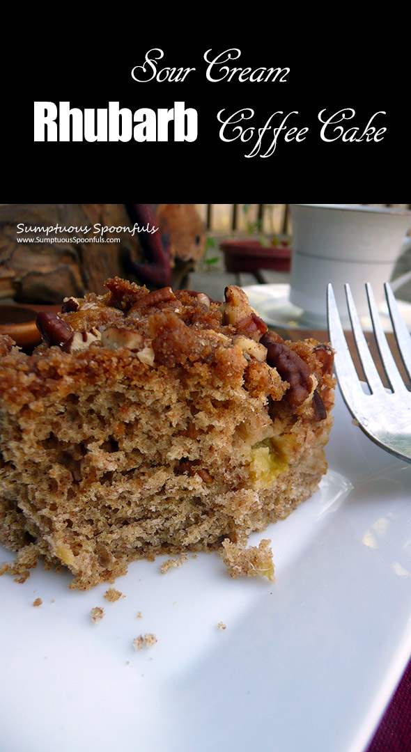 Sour Cream Rhubarb Coffee Cake ~ Sumptuous Spoonfuls #wholewheat #coffee #cake #recipe