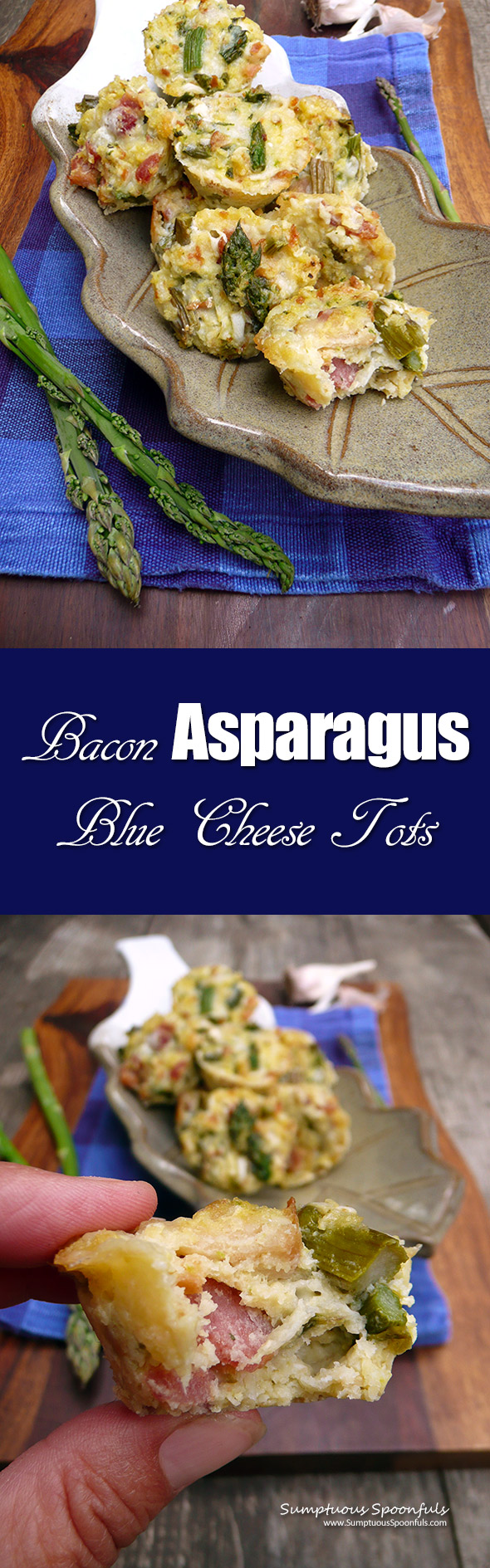 Bacon Asparagus Blue Cheese Tots ~ Sumptuous Spoonfuls #bitesize #appetizer #side #recipe