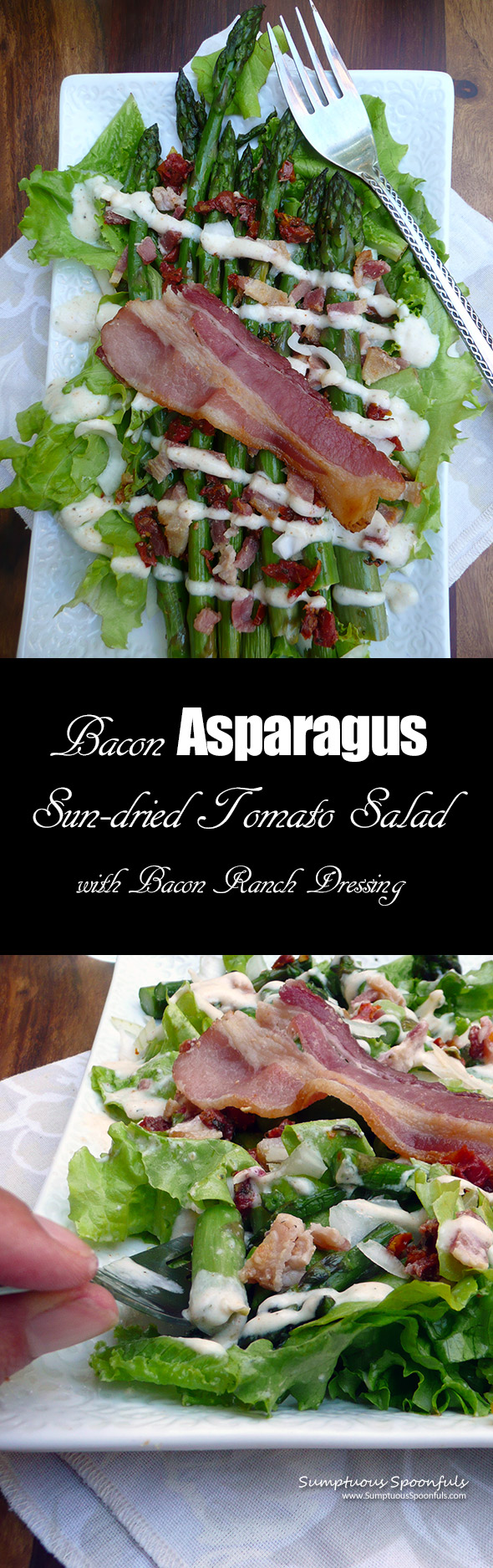Bacon Asparagus Sun-dried Tomato Salad w/Bacon Ranch Dressing ~ Sumptuous Spoonfuls #bacon #salad #recipe