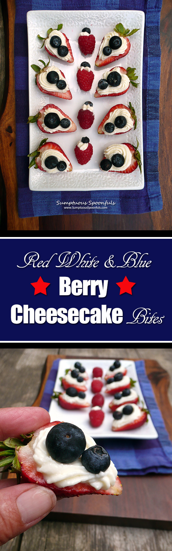Red White & Blue Berry Cheesecake Bites ~ Sumptuous Spoonfuls #easy #patriotic #dessert #recipe