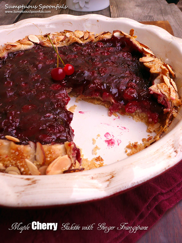Maple Cherry Galette w Ginger Frangipane ~ Sumptuous Spoonfuls #cherry #pie #recipe