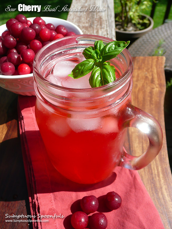 Sour Cherry Basil Antioxidant Water ~ Sumptuous Spoonfuls #homemade #flavored #water #recipe