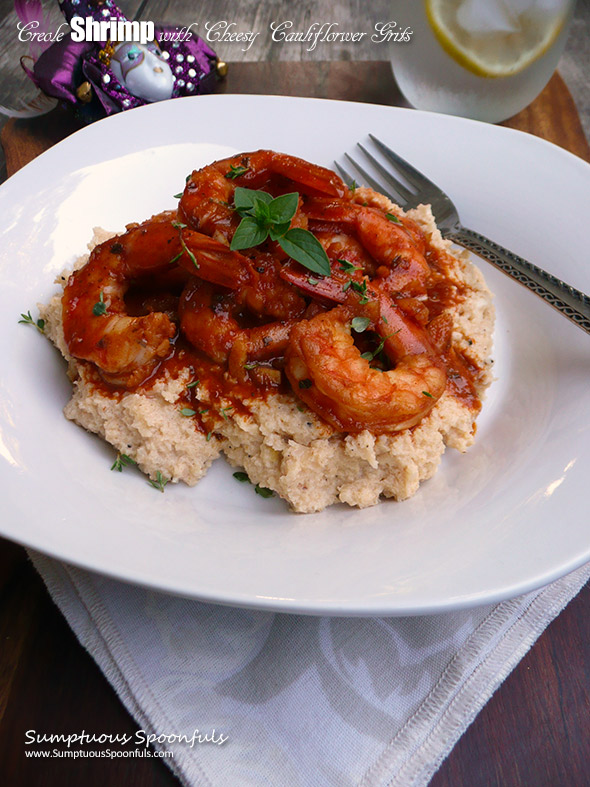 Creole Shrimp with Cheesy Cauliflower Grits