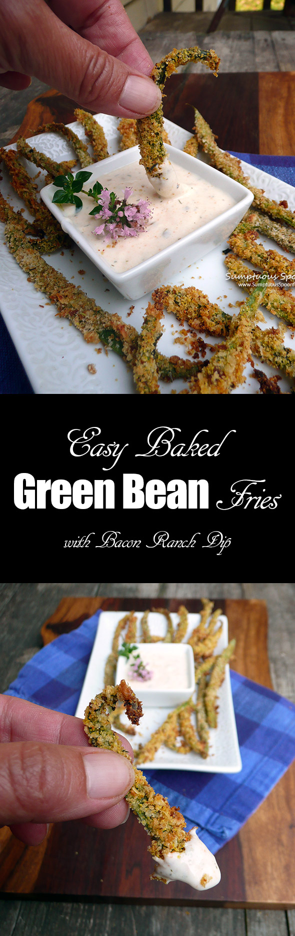 Easy Baked Green Bean Fries ~ Sumptuous Spoonfuls #healthy #baked #appetizer #recipe