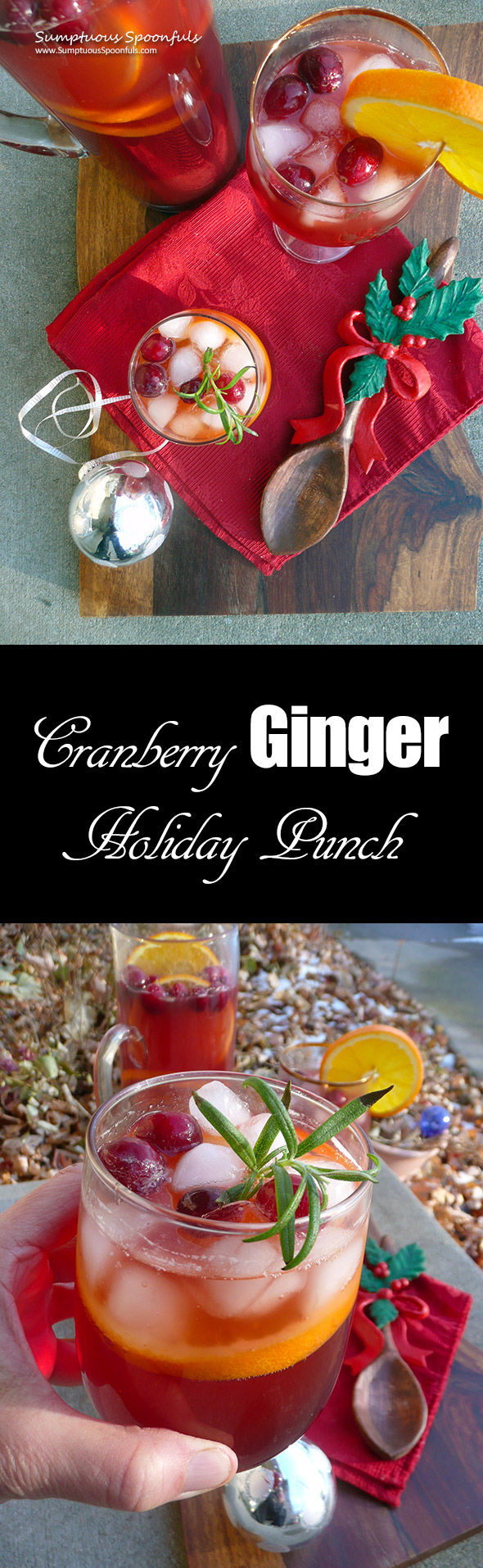 Cranberry Ginger Holiday Punch ~ Sumptuous Spoonfuls #refreshing #holiday #punch #recipe