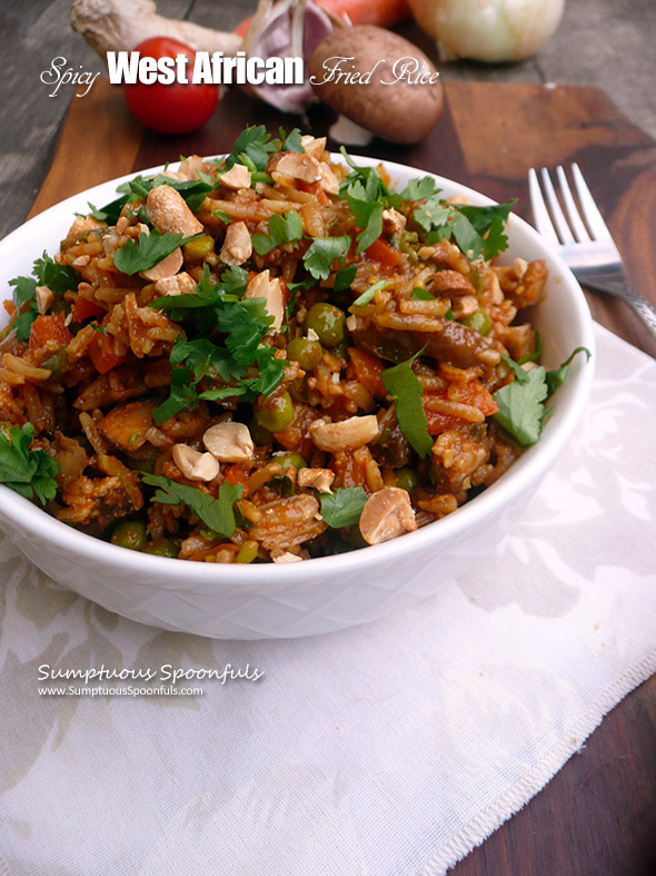 Spicy West African Fried Rice ~ Sumptuous Spoonfuls #rice #recipe