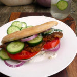 Grilled Eggplant Gyros ~ a hearty, delicious plant-based meal. #veggie #gyro #recipe