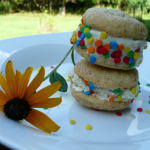 Ice cream sandwiches made with Peach Banana Coconut Rum Ice Cream