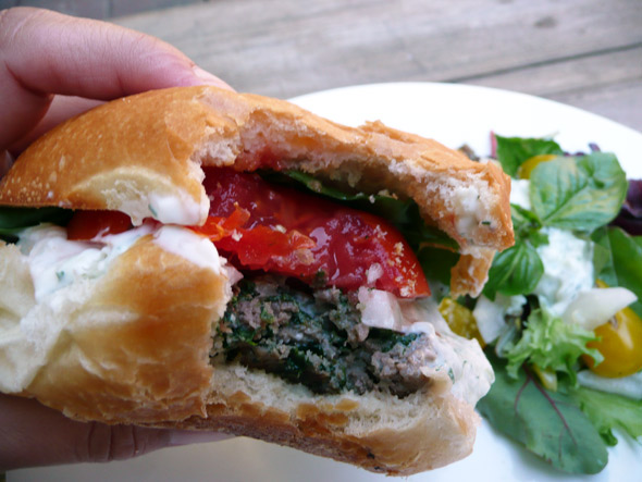 Feta-Stuffed Gyro Burgers with the World's Best Tzatziki Sauce