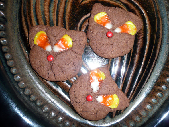 Psycho Black Magic Cat Cookies with Melted Candy Corn Eyes