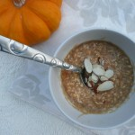 Pumpkin Spice Oatmeal with Peanut Butter & Sliced Almonds