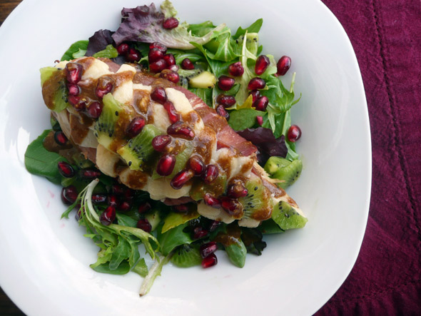 Prosciutto-wrapped Turkey Breast with Kiwi & Pomegranate