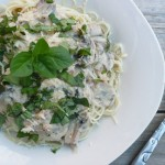 White Wine Mushroom Cream Sauce over Angel Hair Pasta with Parmesan and Fresh Basil