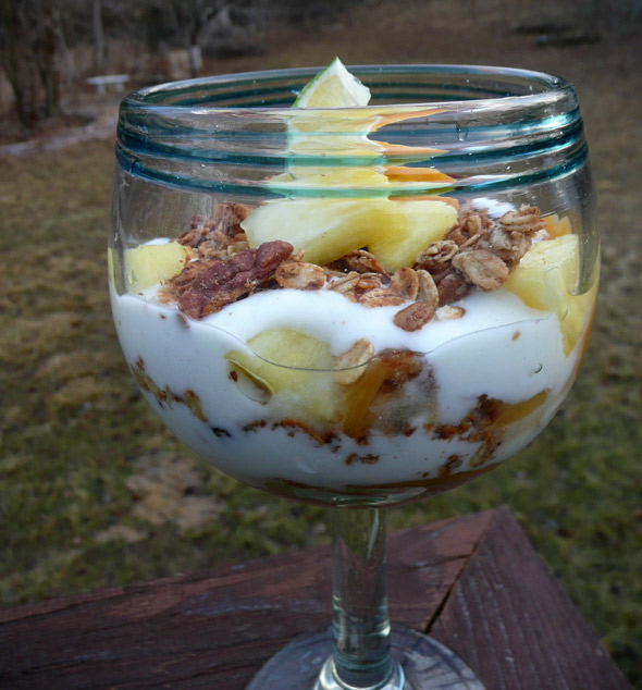 Pineapple Peach Yogurt Parfait with Honey Lime Yogurt