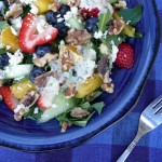 Rainbow Fruit Salad on Wild Greens with Toasted Walnuts & Feta Cheese