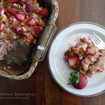 Strawberry Rhubarb Baked French Toast with Mascarpone Cheese