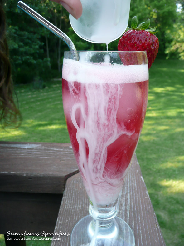 Strawberry Mulberry Basil Italian Cream Sodas