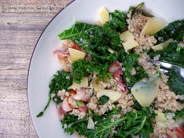 Wilted Kale, Quinoa & Bacon Salad