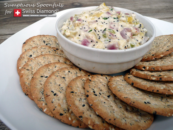 Crab Artichoke Dip with Asiago & Bacon ~  www.SumptuousSpoonfuls.com