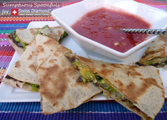 Black Bean Chipotle Quesadillas with Avocado Cream
