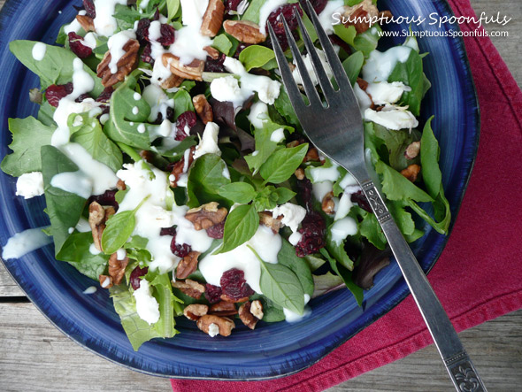 Cranberry Pecan Salad with Goat Cheese Crumbles ~ SumptuousSpoonfuls.com