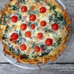 Havarti Kale Tomato Pie with Hashbrown Crust