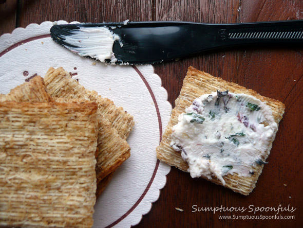 Basil Garlic Goat Cheese Schmear ~ Sumpuous Spoonfuls #basil #garlic #goat cheese #recipe