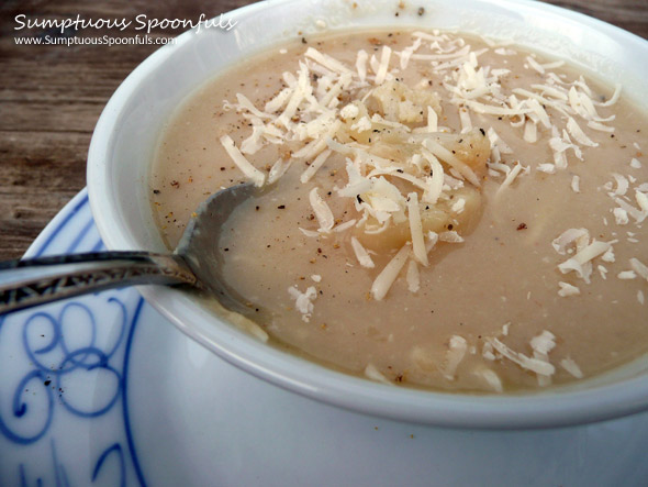 Cauliflower Potato Parmesan Soup ~ Sumptuous Spoonfuls #potato #cauliflower #parmesan #soup #recipe